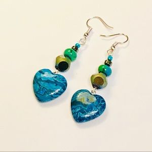 Crazy Lace Agate & Chrysocolla Earrings